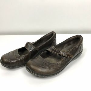 Clarks Brown Leather Mary Jane Casual Shoes 7 1/2M